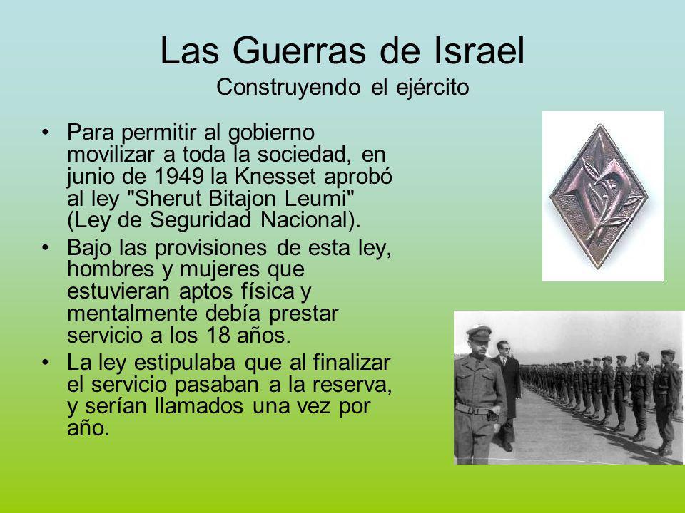 Las Guerras de Israel Construyendo el ejército Para permitir al gobierno movilizar a toda la sociedad, en junio de 1949 la Knesset aprobó al ley Sherut Bitajon Leumi (Ley de Seguridad Nacional).