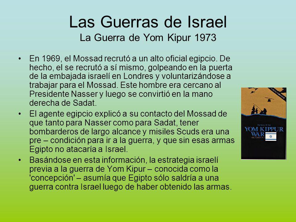 Las Guerras de Israel La Guerra de Yom Kipur 1973 En 1969, el Mossad recrutó a un alto oficial egipcio.