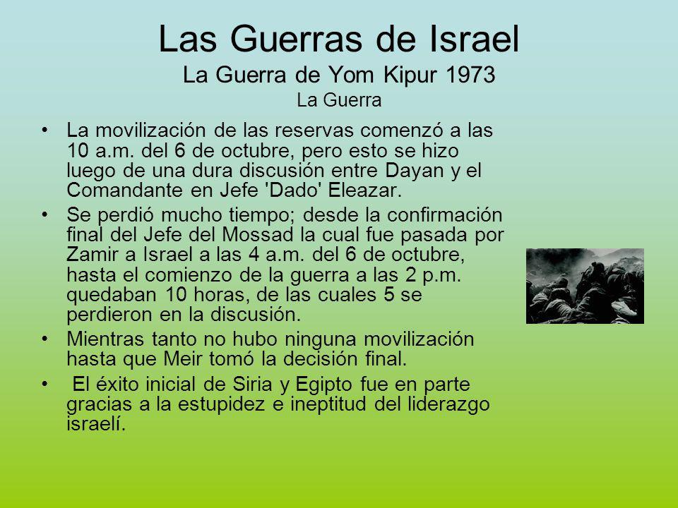 Las Guerras de Israel La Guerra de Yom Kipur 1973 La Guerra La movilización de las reservas comenzó a las 10 a.m.