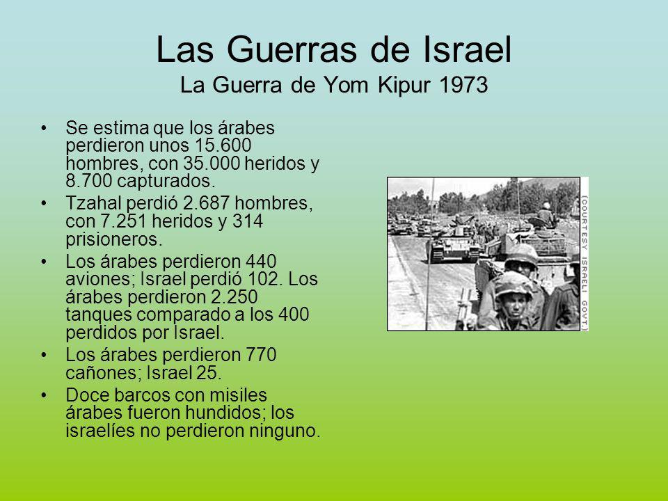 Las Guerras de Israel La Guerra de Yom Kipur 1973 Se estima que los árabes perdieron unos 15.600 hombres, con 35.000 heridos y 8.700 capturados.