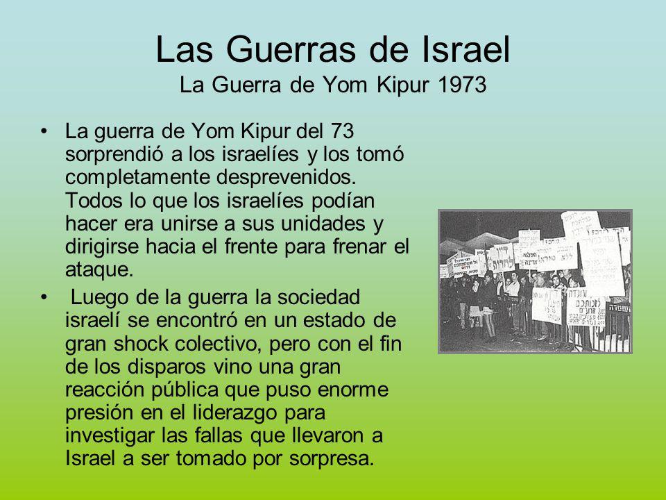 Las Guerras de Israel La Guerra de Yom Kipur 1973 La guerra de Yom Kipur del 73 sorprendió a los israelíes y los tomó completamente desprevenidos.