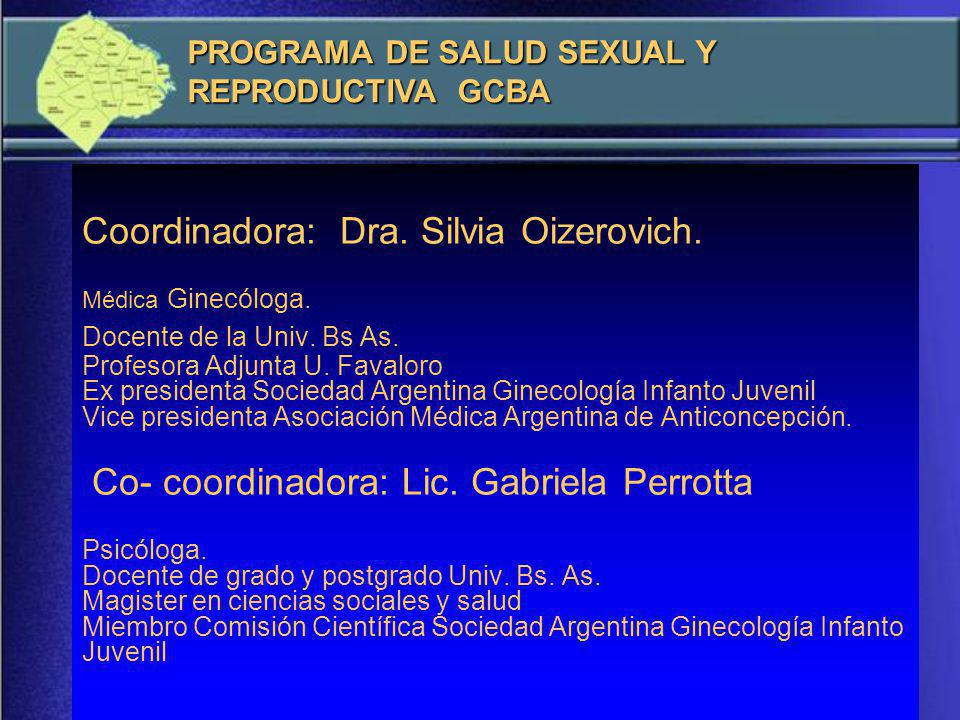 Coordinadora: Dra.Silvia Oizerovich. Médica Ginecóloga.