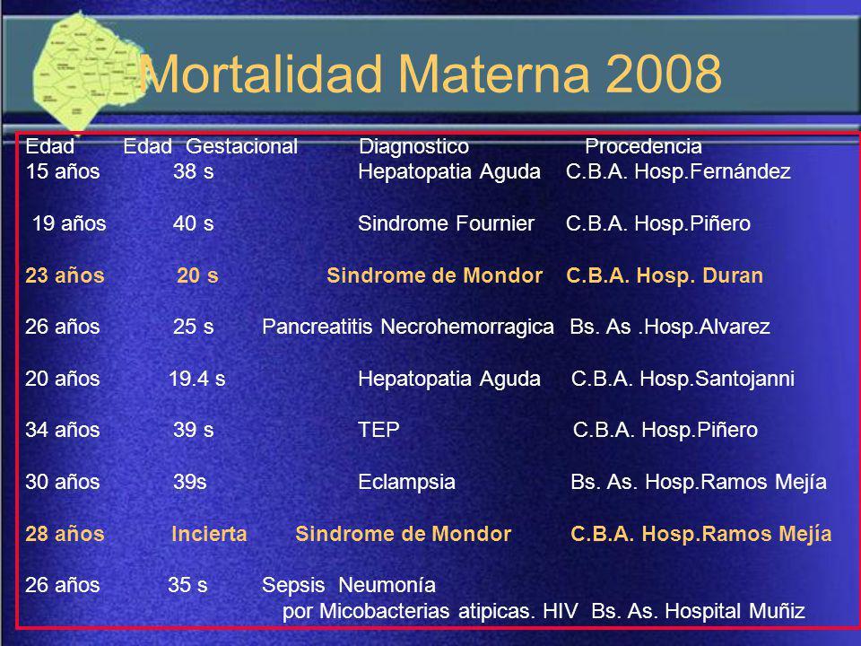 Defunciones Maternas Hospitales GCABA, seg ú n Causa y Lugar de Residencia A ñ o 2007 – N = 19 CausasResiden te No ResidenteTotalTotal % Aborto Sepsis40421,06 Coagulopat í a11210,04 TBC – Ces á rea - S é psis11210,04 Ces á rea Sepsis0115,26 Placenta Percreta0115,26 C.I.D.0115,26 Leucemia-Colecistectom í a0115,26 Shock Hipovol é mico1015,26 Embolia L í quido Amni ó tico1015,26 HIV (+) Ces á rea0115,26 Neumon í a1015,26 Aborto – S é psis - Mondor1015,26 Feto muerto retenido - S é psis1015,26 Feto muerto ret.- Histerectom í a1015,26 Cantidad Total12719100,00 Total Porcentaje63,15 %36,85 %100,00 % Fuente: Direcci ó n de Estad í stica.