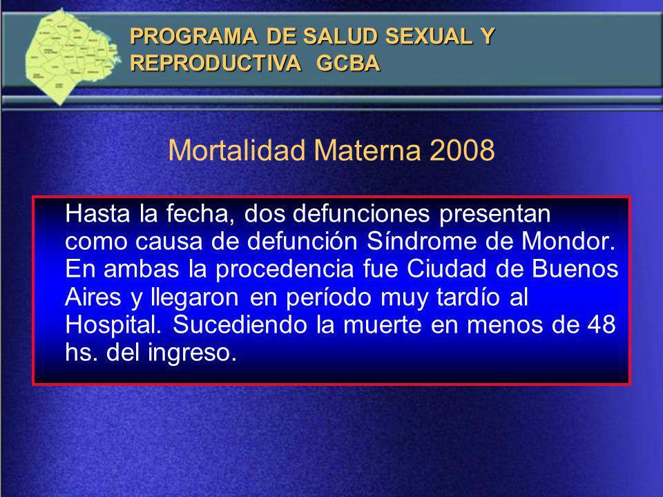 Mortalidad Materna 2008 Edad Edad Gestacional Diagnostico Procedencia 15 años 38 s Hepatopatia Aguda C.B.A.