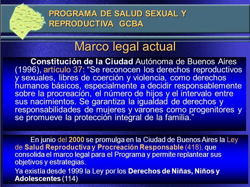 La Ciudad de Buenos Aires es la primera en crear un Programa de Procreación Responsable, que se pone en marcha en 1988, con el objetivo de suministrar información, asistencia y provisión gratuita de métodos anticonceptivos a la población en edad fértil.