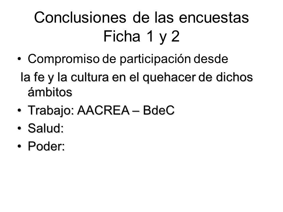 Conclusiones de las encuestas Ficha 1 y 2 Compromiso de participación desde la fe y la cultura en el quehacer de dichos ámbitos Trabajo: AACREA – BdeC