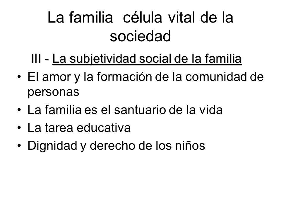 La familia célula vital de la sociedad IV- La familia, protagonista de la vida social IV- La familia, protagonista de la vida social Solidaridad familiar Familia, vida económica y trabajo La sociedad al servicio de la familia