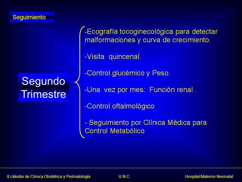 II cátedra de Clinica Obstétrica y Perinatología U.N.C. Hospital Materno Neonatal Segundo Trimestre Seguimiento