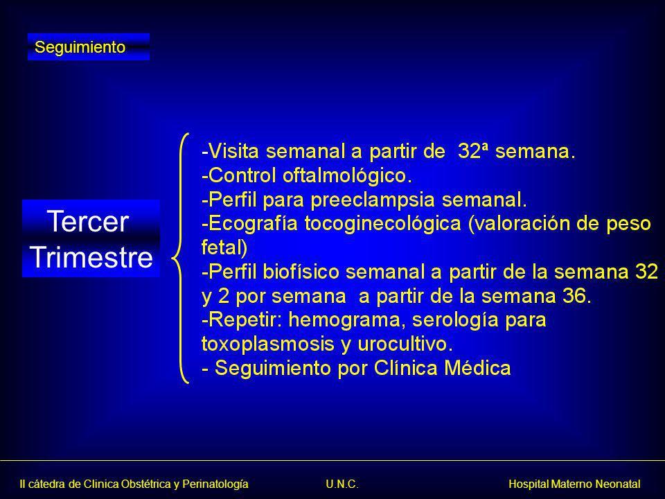 II cátedra de Clinica Obstétrica y Perinatología U.N.C. Hospital Materno Neonatal Tercer Trimestre Seguimiento