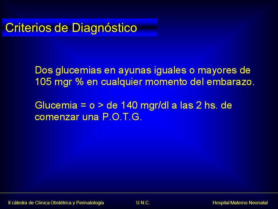 II cátedra de Clinica Obstétrica y Perinatología U.N.C. Hospital Materno Neonatal Criterios de Diagnóstico