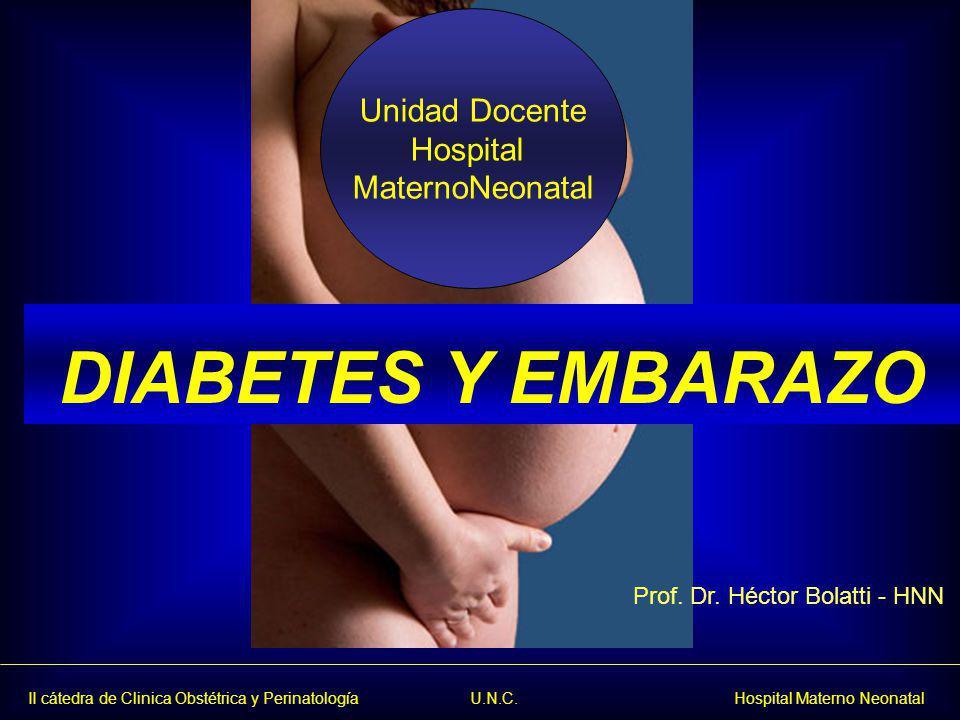 II cátedra de Clinica Obstétrica y Perinatología U.N.C. Hospital Materno Neonatal DIABETES Y EMBARAZO Unidad Docente Hospital MaternoNeonatal Prof. Dr