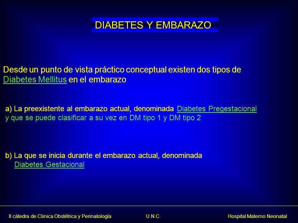 Diabetes pregestacional.Se debe revisar el tratamiento insulínico Diabetes gestacional.