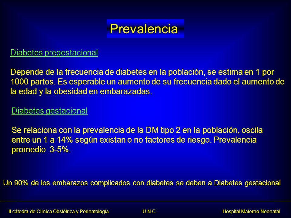 II cátedra de Clinica Obstétrica y Perinatología U.N.C. Hospital Materno Neonatal Diabetes gestacional Se relaciona con la prevalencia de la DM tipo 2