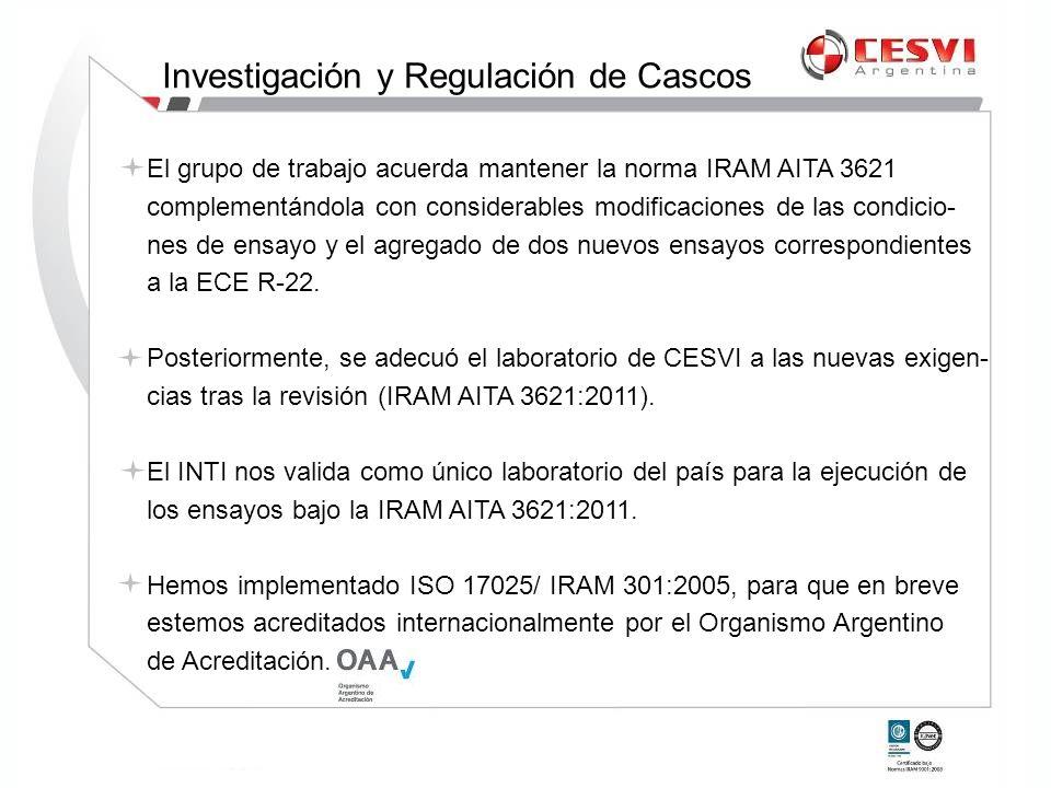 El grupo de trabajo acuerda mantener la norma IRAM AITA 3621 complementándola con considerables modificaciones de las condicio- nes de ensayo y el agr