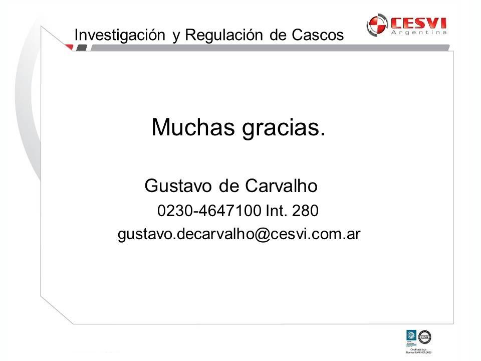 Muchas gracias. Gustavo de Carvalho 0230-4647100 Int. 280 gustavo.decarvalho@cesvi.com.ar Investigación y Regulación de Cascos