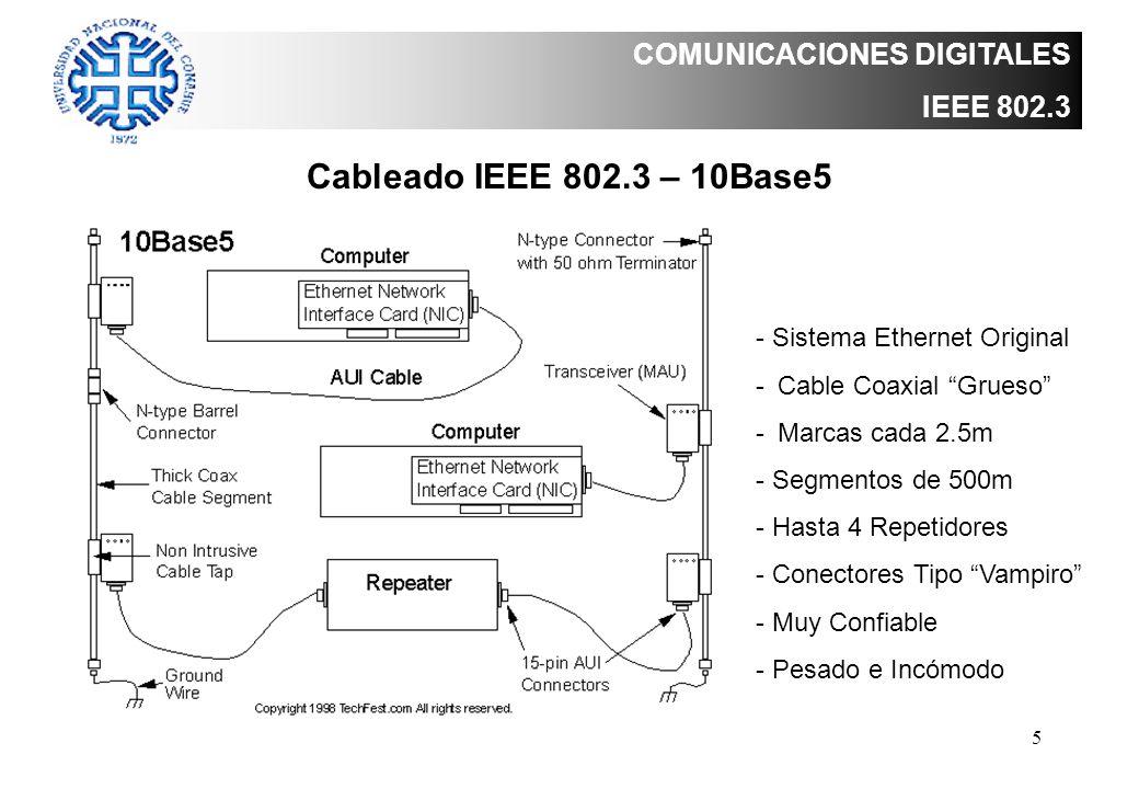 5 COMUNICACIONES DIGITALES IEEE 802.3 Cableado IEEE 802.3 – 10Base5 - Sistema Ethernet Original -Cable Coaxial Grueso -Marcas cada 2.5m - Segmentos de