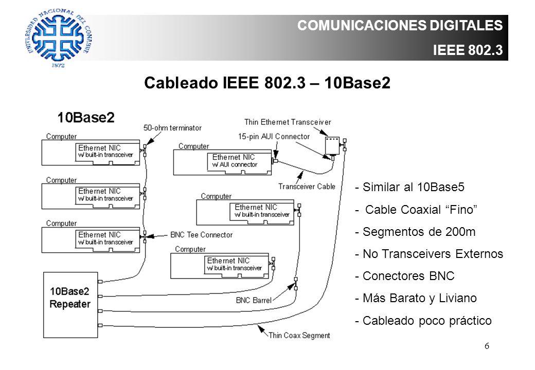 6 COMUNICACIONES DIGITALES IEEE 802.3 Cableado IEEE 802.3 – 10Base2 - Similar al 10Base5 -Cable Coaxial Fino - Segmentos de 200m - No Transceivers Ext