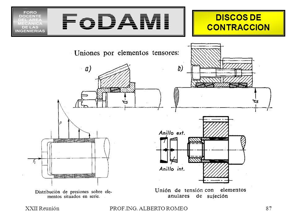 XXII ReuniónPROF.ING. ALBERTO ROMEO87 DISCOS DE CONTRACCION