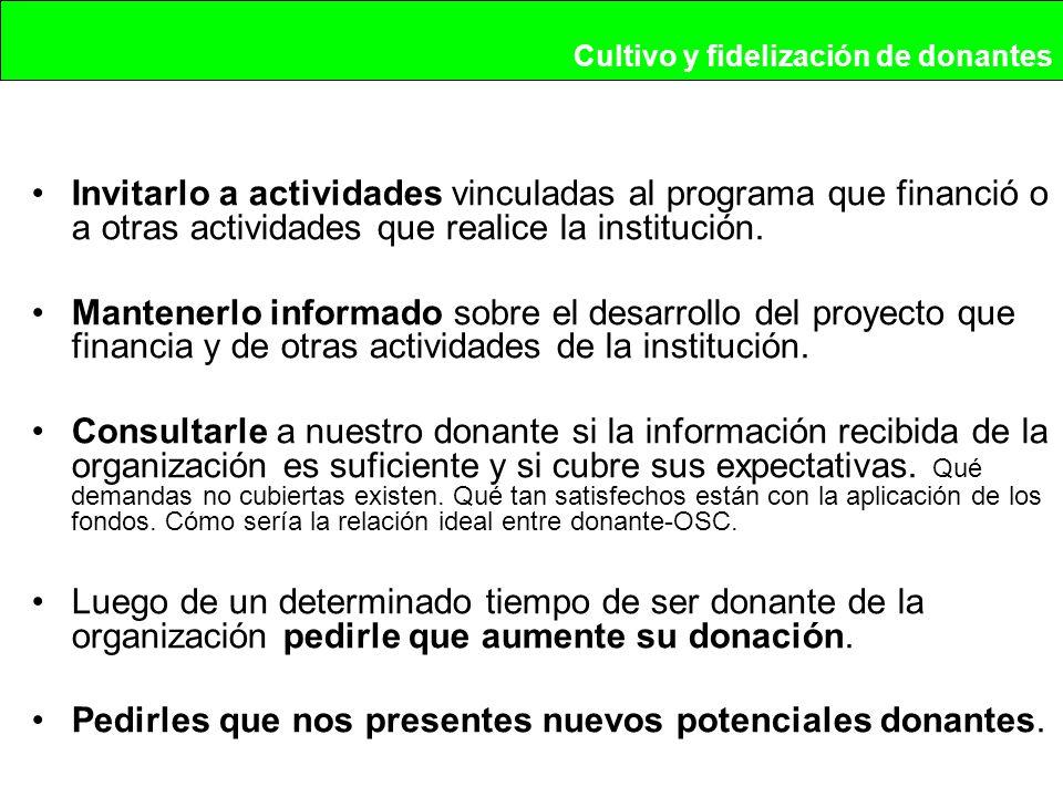 Invitarlo a actividades vinculadas al programa que financió o a otras actividades que realice la institución.