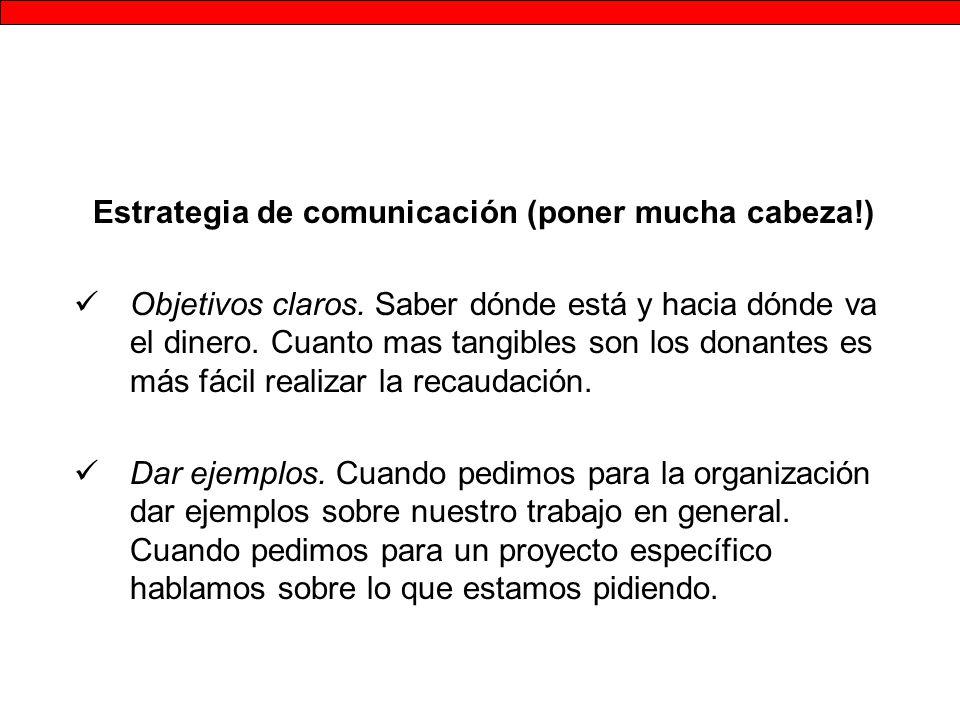 Estrategia de comunicación (poner mucha cabeza!) Objetivos claros.