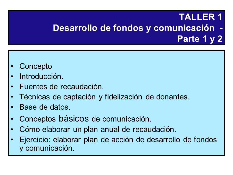 TALLER 1 Desarrollo de fondos y comunicación - Parte 1 y 2 Concepto Introducción.