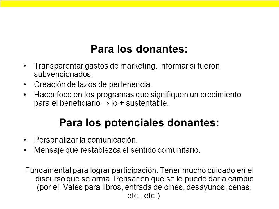 Para los donantes: Transparentar gastos de marketing.