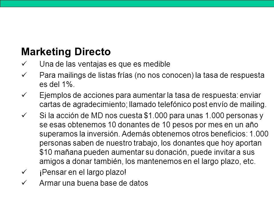 Marketing Directo Una de las ventajas es que es medible Para mailings de listas frías (no nos conocen) la tasa de respuesta es del 1%.
