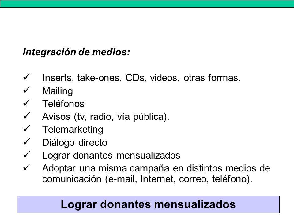 Integración de medios: Inserts, take-ones, CDs, videos, otras formas.
