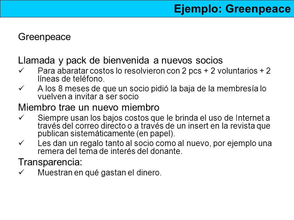 Greenpeace Llamada y pack de bienvenida a nuevos socios Para abaratar costos lo resolvieron con 2 pcs + 2 voluntarios + 2 líneas de teléfono.