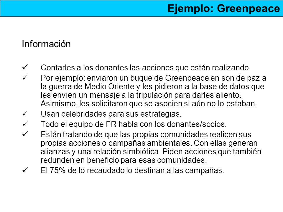 Información Contarles a los donantes las acciones que están realizando Por ejemplo: enviaron un buque de Greenpeace en son de paz a la guerra de Medio Oriente y les pidieron a la base de datos que les envíen un mensaje a la tripulación para darles aliento.