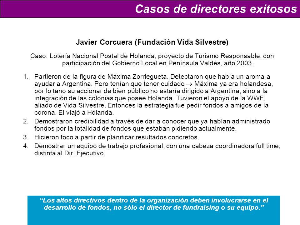 Javier Corcuera (Fundación Vida Silvestre) Caso: Lotería Nacional Postal de Holanda, proyecto de Turismo Responsable, con participación del Gobierno Local en Península Valdés, año 2003.
