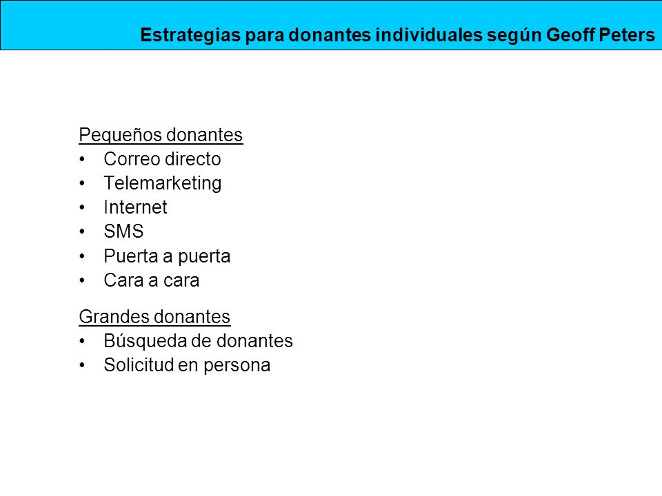 Pequeños donantes Correo directo Telemarketing Internet SMS Puerta a puerta Cara a cara Grandes donantes Búsqueda de donantes Solicitud en persona Estrategias para donantes individuales según Geoff Peters