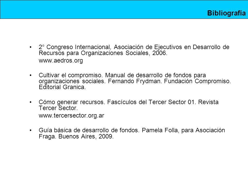 2° Congreso Internacional, Asociación de Ejecutivos en Desarrollo de Recursos para Organizaciones Sociales, 2006.
