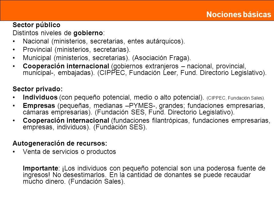 Sector público Distintos niveles de gobierno: Nacional (ministerios, secretarias, entes autárquicos).