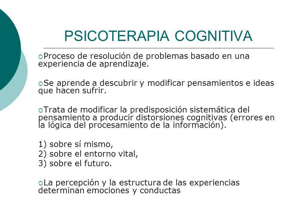 PSICOTERAPIA COGNITIVA Proceso de resolución de problemas basado en una experiencia de aprendizaje. Se aprende a descubrir y modificar pensamientos e