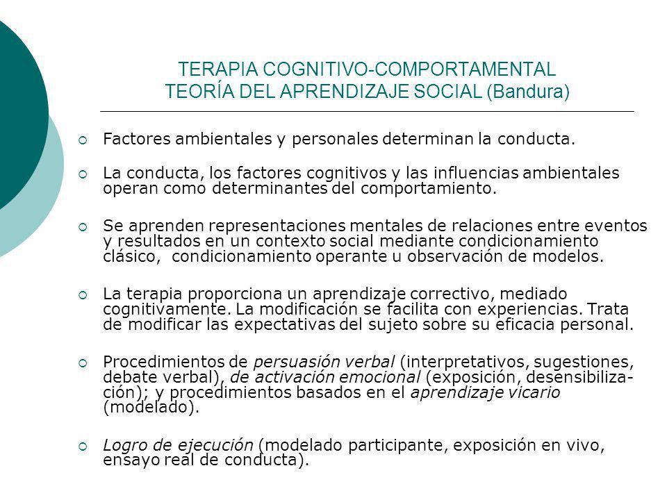 TERAPIA COGNITIVO-COMPORTAMENTAL TEORÍA DEL APRENDIZAJE SOCIAL (Bandura) Factores ambientales y personales determinan la conducta. La conducta, los fa