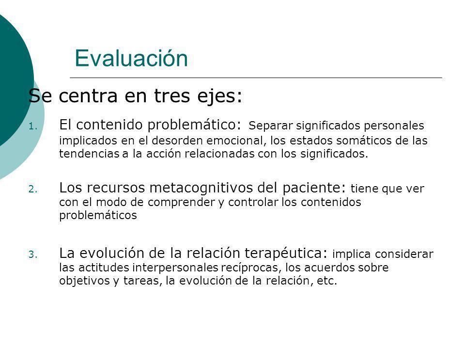 Evaluación Se centra en tres ejes: 1. El contenido problemático: Separar significados personales implicados en el desorden emocional, los estados somá