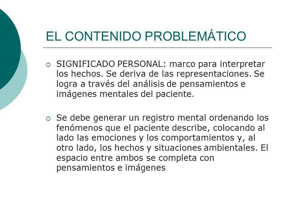 EL CONTENIDO PROBLEMÁTICO SIGNIFICADO PERSONAL: marco para interpretar los hechos. Se deriva de las representaciones. Se logra a través del análisis d
