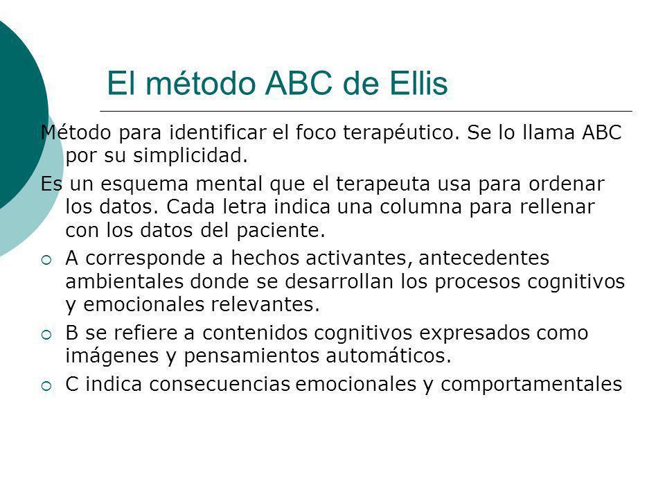 El método ABC de Ellis Método para identificar el foco terapéutico. Se lo llama ABC por su simplicidad. Es un esquema mental que el terapeuta usa para