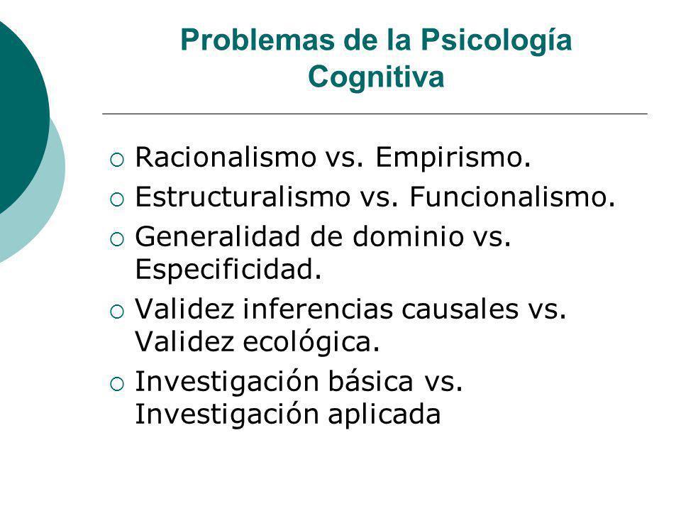 Problemas de la Psicología Cognitiva Racionalismo vs. Empirismo. Estructuralismo vs. Funcionalismo. Generalidad de dominio vs. Especificidad. Validez