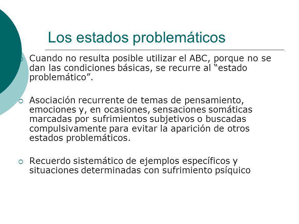 Los estados problemáticos Cuando no resulta posible utilizar el ABC, porque no se dan las condiciones básicas, se recurre al estado problemático. Asoc