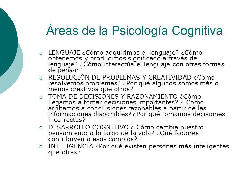 Áreas de la Psicología Cognitiva LENGUAJE ¿Cómo adquirimos el lenguaje? ¿Cómo obtenemos y producimos significado a través del lenguaje? ¿Cómo interact