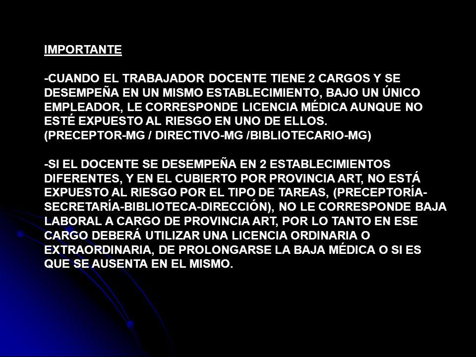 IMPORTANTE -CUANDO EL TRABAJADOR DOCENTE TIENE 2 CARGOS Y SE DESEMPEÑA EN UN MISMO ESTABLECIMIENTO, BAJO UN ÚNICO EMPLEADOR, LE CORRESPONDE LICENCIA M