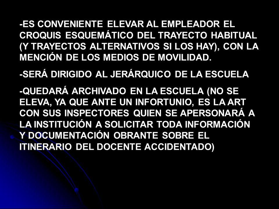 -ES CONVENIENTE ELEVAR AL EMPLEADOR EL CROQUIS ESQUEMÁTICO DEL TRAYECTO HABITUAL (Y TRAYECTOS ALTERNATIVOS SI LOS HAY), CON LA MENCIÓN DE LOS MEDIOS D