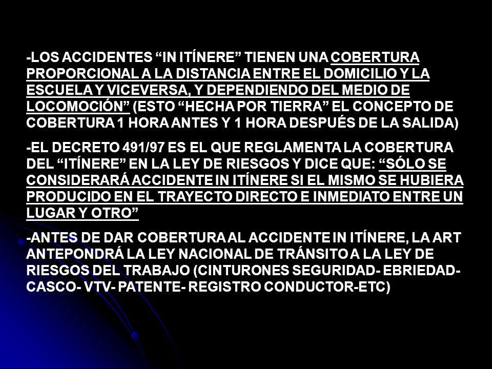 -LOS ACCIDENTES IN ITÍNERE TIENEN UNA COBERTURA PROPORCIONAL A LA DISTANCIA ENTRE EL DOMICILIO Y LA ESCUELA Y VICEVERSA, Y DEPENDIENDO DEL MEDIO DE LO