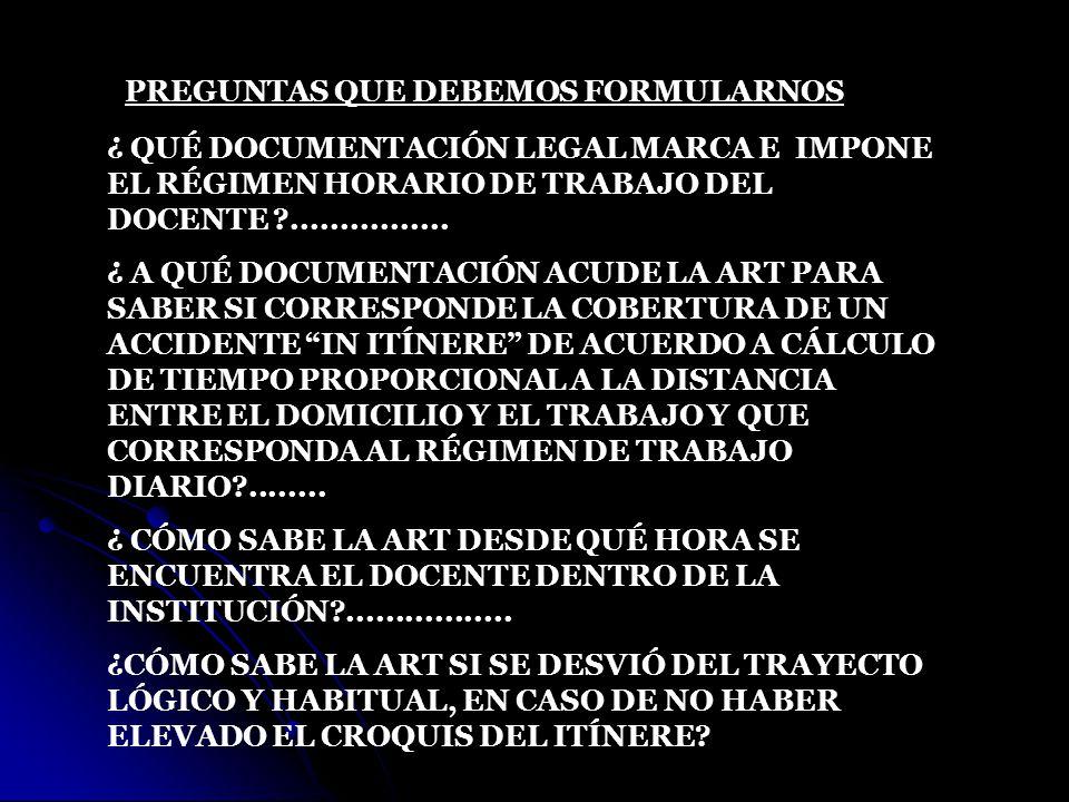 PREGUNTAS QUE DEBEMOS FORMULARNOS ¿ QUÉ DOCUMENTACIÓN LEGAL MARCA E IMPONE EL RÉGIMEN HORARIO DE TRABAJO DEL DOCENTE ?................ ¿ A QUÉ DOCUMEN