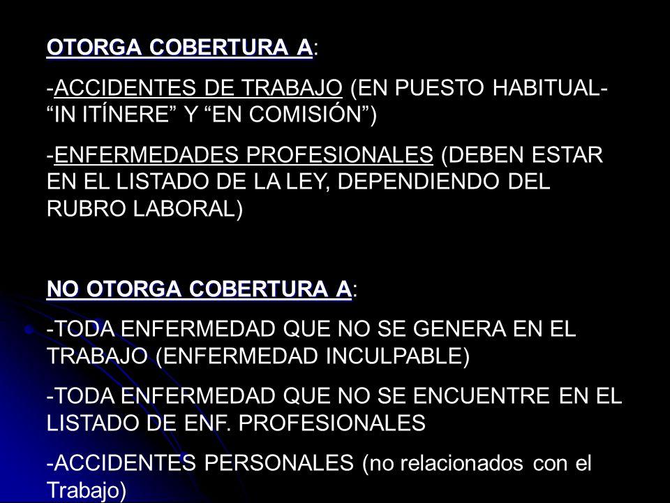 OTORGA COBERTURA A OTORGA COBERTURA A: -ACCIDENTES DE TRABAJO (EN PUESTO HABITUAL- IN ITÍNERE Y EN COMISIÓN) -ENFERMEDADES PROFESIONALES (DEBEN ESTAR