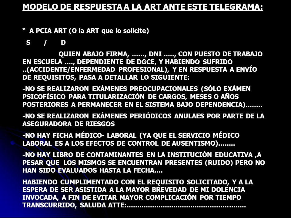 MODELO DE RESPUESTA A LA ART ANTE ESTE TELEGRAMA: A PCIA ART (O la ART que lo solicite) S / D QUIEN ABAJO FIRMA, ……, DNI ….., CON PUESTO DE TRABAJO EN
