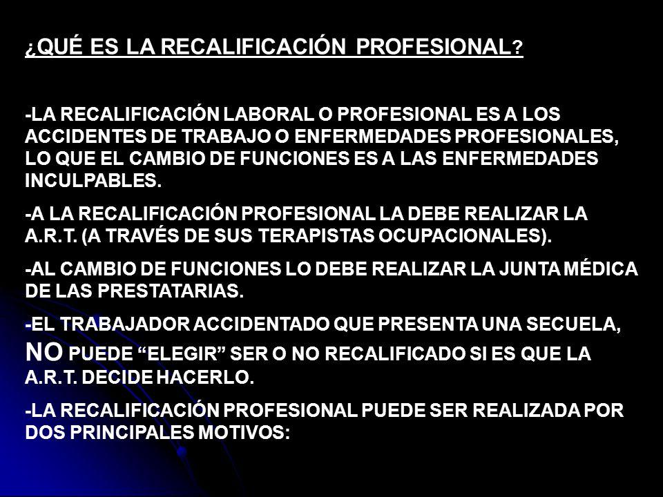 ¿ QUÉ ES LA RECALIFICACIÓN PROFESIONAL ? -LA RECALIFICACIÓN LABORAL O PROFESIONAL ES A LOS ACCIDENTES DE TRABAJO O ENFERMEDADES PROFESIONALES, LO QUE