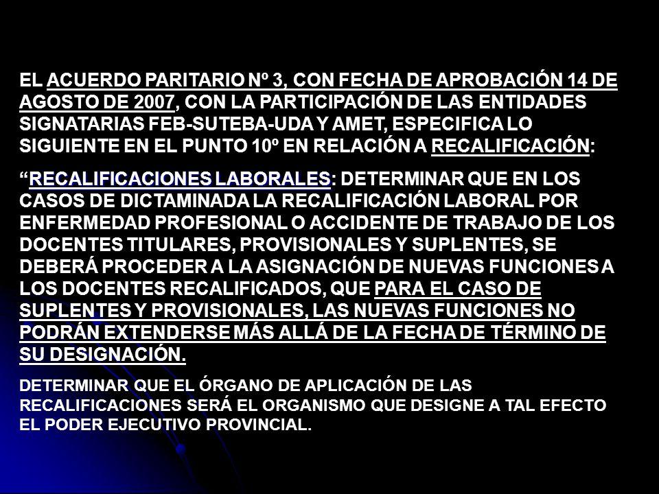EL ACUERDO PARITARIO Nº 3, CON FECHA DE APROBACIÓN 14 DE AGOSTO DE 2007, CON LA PARTICIPACIÓN DE LAS ENTIDADES SIGNATARIAS FEB-SUTEBA-UDA Y AMET, ESPE